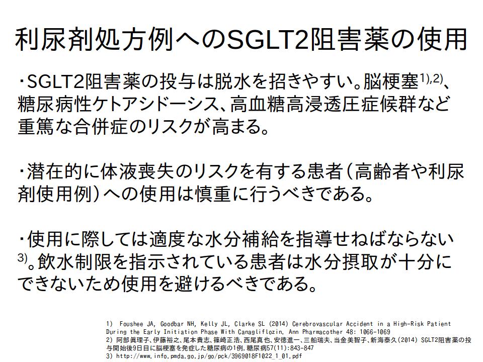 SGLT2阻害薬を利尿剤使用例に処方する際の注意点