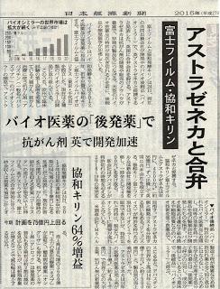 富士フィルム・協和発酵キリンがアストラゼネカと合弁